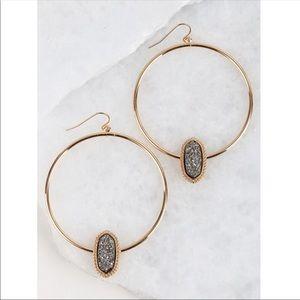 Druzy Circle Hoop Earrings
